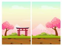 Verticale Illustratie van Japan met Sakura Tree, Berg en Po Stock Afbeeldingen