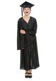 Verticale intégrale de femme d'étudiant de graduation Image libre de droits