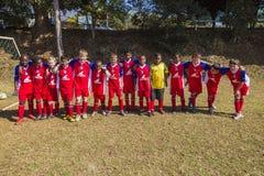 Verticale junior d'équipe de football Photos stock