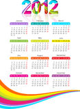 Verticale kalender voor het jaar van 2012 met regenboog Stock Afbeeldingen