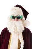 Verticale le père noël avec des lunettes de soleil Photos libres de droits