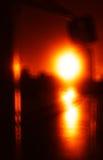 Verticale levendige oranje het glasabstractie van de zonsondergangbus Royalty-vrije Stock Afbeelding