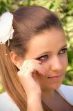 Verticale mélancolique de jeune mariée Photographie stock libre de droits
