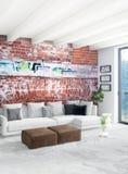 Verticale Minimale Slaapkamer of het Binnenlandse Ontwerp van de Zolderstijl het 3d teruggeven Het idee van het concept Royalty-vrije Stock Foto
