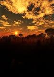 Verticale mystérieuse de coucher du soleil de paysage illustration de vecteur