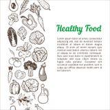 Verticale naadloze achtergrond met hand getrokken groenten Vector Illustratie