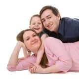 Verticale occasionnelle de jeune famille heureux Photo libre de droits
