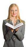 verticale ouverte de livre blond assez Image stock