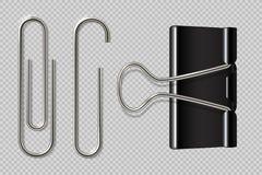 Verticale papier-klem Realistisch die bindmiddel, document houder op witte achtergrond, de macrobevestigingsmiddelen van het meta vector illustratie