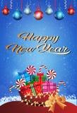 Verticale plate de carte de voeux de décoration colorée de boules de boîte-cadeau de concept de Joyeux Noël de bonne année illustration stock