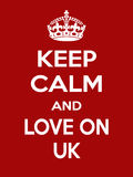 Verticale rechthoekige rood-witte motivatie de liefde op Britse die affiche in uitstekende retro stijl wordt gebaseerd Royalty-vrije Stock Afbeeldingen