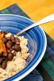 Verticale rijst, Bonen en Salsa, Royalty-vrije Stock Afbeeldingen