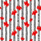 Verticale rouge botanique de fleur de ketmie avec la conception en bois verticale de modèle pour le fond sans couture Photographie stock