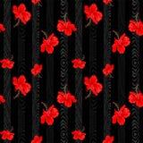Verticale rouge botanique de fleur de ketmie avec la conception en bois verticale de modèle pour le fond sans couture de vecteur Photo stock