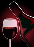 Fles en glas rode wijn Royalty-vrije Stock Foto's