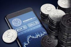 Verticale smartphone met Ethereum-handelgrafiek op scherm onder stapels van Ether stock illustratie
