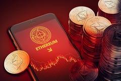 Verticale smartphone met Ethereum-het symbool van de dalingsgrafiek op scherm onder stapels van Ether stock illustratie