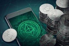 Verticale smartphone met Ethereum-symbool op scherm onder stapels van Ether Het concept van de Ethereum blockchain technologie vector illustratie
