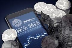 Verticale smartphone met Monero-handelgrafiek op scherm onder stapels van zilveren Monero-muntstukken royalty-vrije illustratie