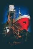 Verticale uitstekende prentbriefkaar van het schip van Noorwegen Stock Foto
