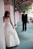 Verticale urbaine de mariée et de marié images libres de droits