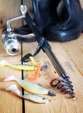 Verticale visserijsamenstelling met divers siliconeaas en het spinnen Stock Afbeelding