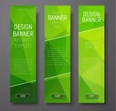 Verticale Webbanners met abstracte groene veelhoek als achtergrond Stock Afbeeldingen