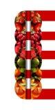 Verticale weerspiegelde halve cirkels met vruchten en verbindend door linten Royalty-vrije Stock Afbeelding