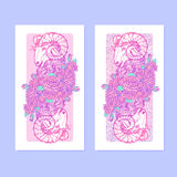 Verticall banners with Zodiac Aries and a decorative frame of roses. Astrology web element. Sketch in tender pastel colors  on elegant pattern background Royalty Free Stock Photos