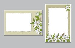 Vertically and horizontally positioned postcards with white lily flowers stock illustration