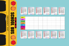 Vertically oriented school bus and calendar Stock Photo
