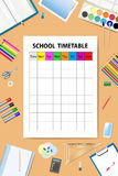Vertically oriented vector with school timetable Royalty Free Stock Images