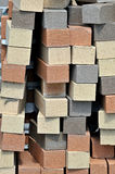 Vertically stacked colored pavers. Image of a vertical stack of colored pavers Stock Image