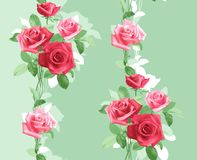 Verticalmente repetido modelo de rosas rosadas delicadas stock de ilustración