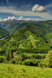 Verticle Landscape with mountains,village,and ski slope. In the summer Royalty Free Stock Photos