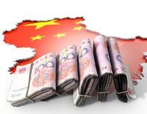 Vertiefte Land-Karte und Bargeld China Stockbilder