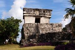 Vertiefung konservierte Mayagebäude bei Tulum stockbild
