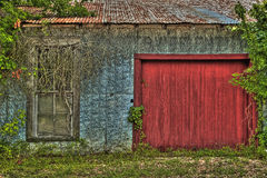 Vertiente overgrown con la puerta de madera roja Foto de archivo libre de regalías