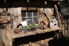 Vertiente vieja con los cuernos y la pajarera de la vaca Imágenes de archivo libres de regalías