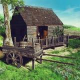 Vertiente vieja y un carro de madera stock de ilustración