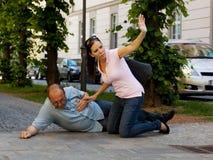 Vertigini dell'uomo o attacco di cuore Fotografie Stock Libere da Diritti