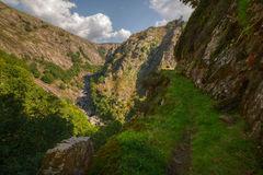 Vertiginous trail through the canyon Eume. Fragas do Eume, Coruña, Galicia Stock Photography