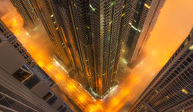 Vertigo. Ahot capture during foggy nights in dubai marina Royalty Free Stock Photography