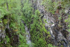 Vertigo inducing view from 46meters above Falls of Measach Royalty Free Stock Image