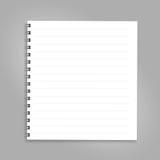 Vertikal anteckningsbok med svartspiralen som isoleras på ren vit Stock Illustrationer