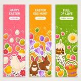 Vertikal baneruppsättning för lycklig påsk vektor illustrationer