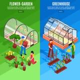 Vertikal baneruppsättning för växthus royaltyfri illustrationer