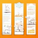 Vertikal bannesuppsättning för gulliga djur Royaltyfria Bilder