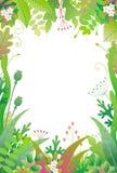 Vertikal blom- ram med gröna växter stock illustrationer