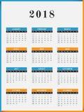 Vertikal design för 2018 år kalender vektor illustrationer